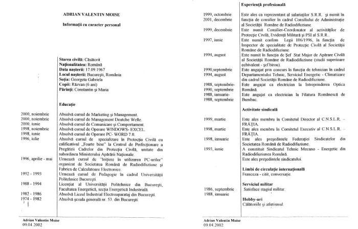 cv moise 2002