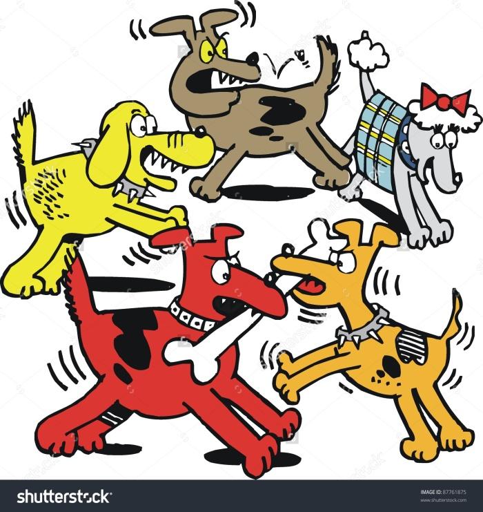 stock-vector-vector-cartoon-of-dogs-fighting-over-bone-87761875